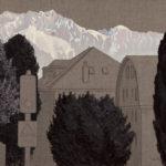 C.-F. Ramuz 85 (Pully), 2019.  Crayon et acrylique sur toile écrue, 60 x 90 cm.