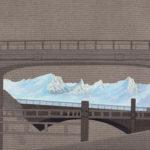 Chemin entre deux ponts, 2019.  Crayon et acrylique sur toile écrue, 60 x 123 cm.