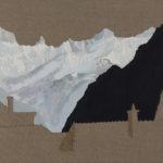 Colline de Montriond, 2017. Crayon et acrylique sur toile écrue, 90 x 135 cm.