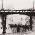 Papier Chemin entre deux ponts 1, 2018. Néocolor soluble sur papier,, 24 x 32 cm.