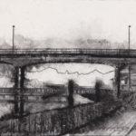 Papier Chemin entre deux ponts 2, 2018. Néocolor soluble sur papier, 24 x 32 cm.