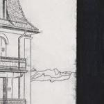 Papier Av. Mousquines 38, 2018.   Crayon et acrylique sur toile écrue, 40 x 30 cm.