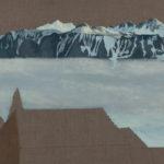 Pont Marc Dufour II, 2017. Crayon et acrylique sur toile écrue, 75 x 200 cm.