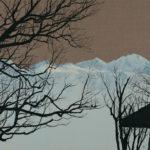 Virage Verdeil 13, 2018. Crayon et acrylique sur toile écrue, 90 x 135 cm.