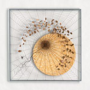« La moisson du voyageur », 2016, 100x100 - Fil de fer tissé, toile de lin, huile