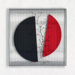 « Ombre et silence », 2017, 100x100 - Fil de fer tissé toile de lin, huile