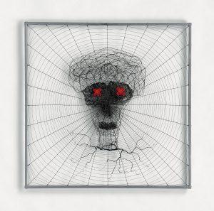 « Masque », 2016, 80x80, Fil de fer tissé