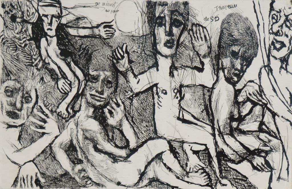 Soutter, De minuit au jour, recto, vers 1930-1937, encre de chine, recto-verso, 32 x 50 cm,sans cadre