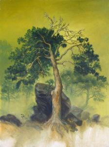 """""""Arbre devant un rocher"""", 2014, huile sur toile, 80 x 60 cm"""