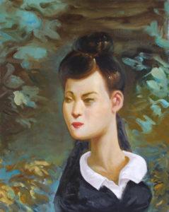 """""""Fille au col blanc"""", 2017, huile sur toile, 50 x 40 cm"""