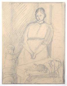 AUBERJONOIS, René, La marchande de volaille, s.d., 27.5 x 20 (feuille), 52.5 x 40 cm (cadre)
