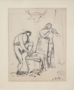 Auberjonois, R., [Scène au crane de cerf], s.d, crayon et encore de chine, 16.5 x 13 cm, CHF 3000.-