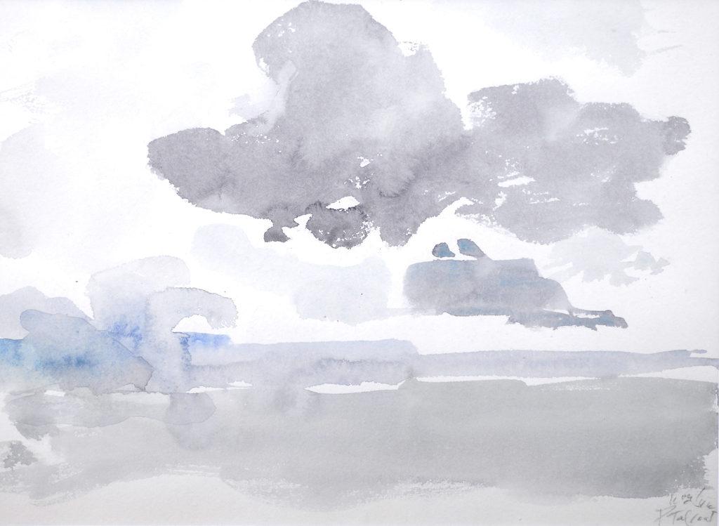 Tal Coat,Lac et Ciel, sd., Aquarelle sur papier, 23.5 x 32 cm