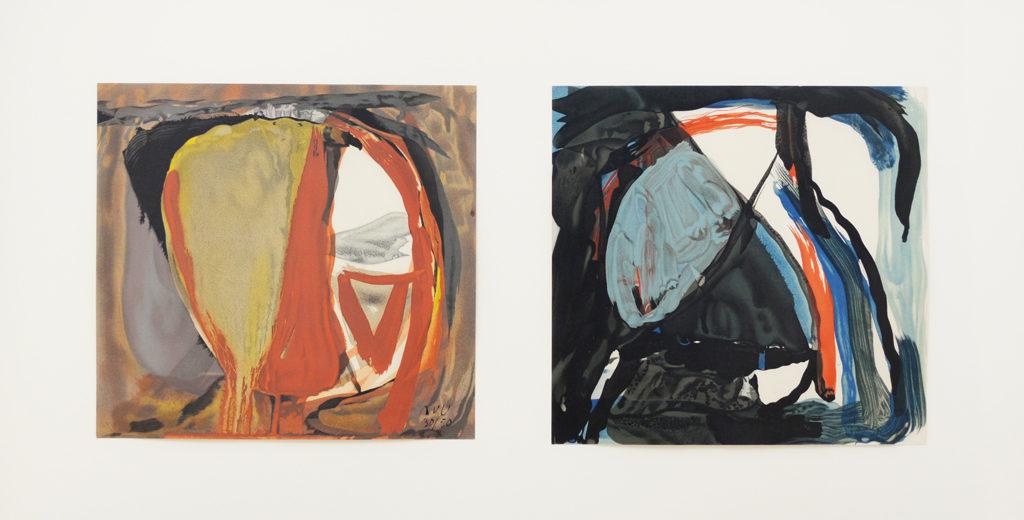 Van Velde, Lithographies d'exécution, 1961, 2 x 27x28.5, 49x84.5 (cadre) réf. no. 12 et 13