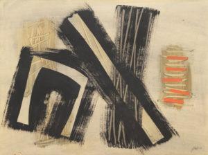 WINTER, WEB - Komposiiton 17, 1954, huile sur papier marouflé, 75.5 x 100cm, 12000.-